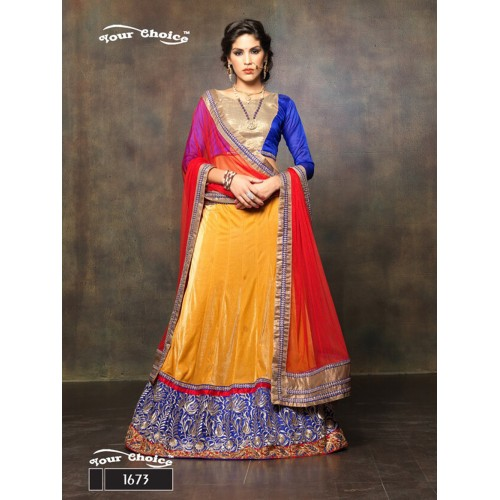 Blue and TurmericYellow Net Brasso Party Wear Lehenga Choli
