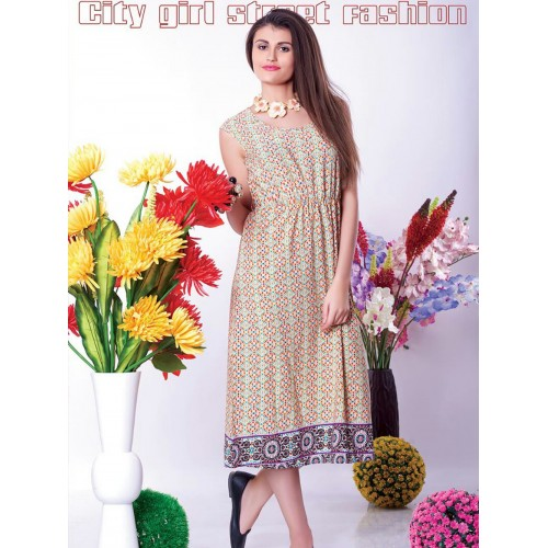 LightYellow Red and Blue Party Wear Kurti