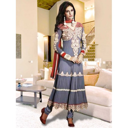 Gray and Red Anarkali Suit