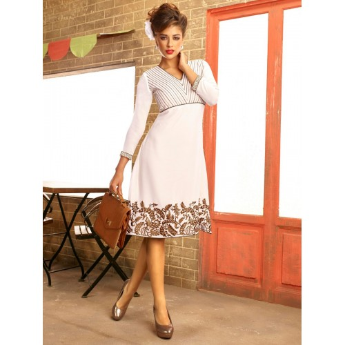White and Brown Designer Kurti